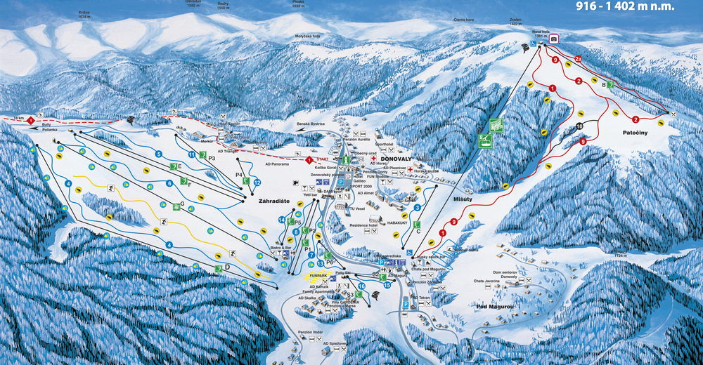 Piste map Ski resort PARK SNOW Donovaly