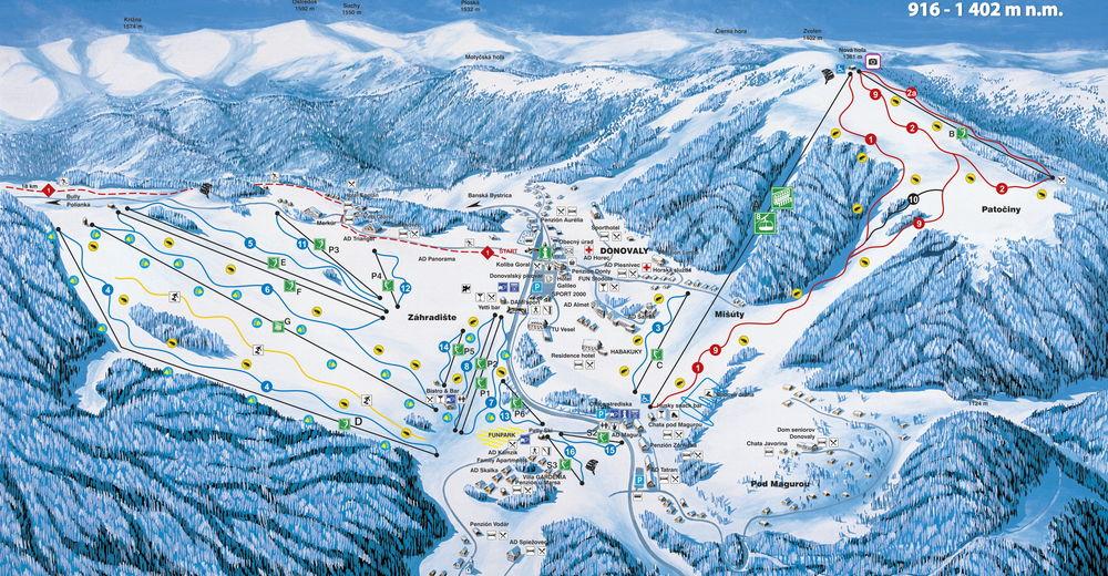 Plan skijaških staza Skijaško područje PARK SNOW Donovaly