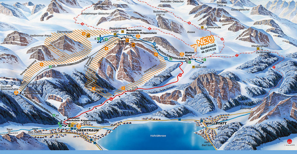 Mapa stoków Ośrodek narciarski Freesports Arena Dachstein Krippenstein / Obertraun