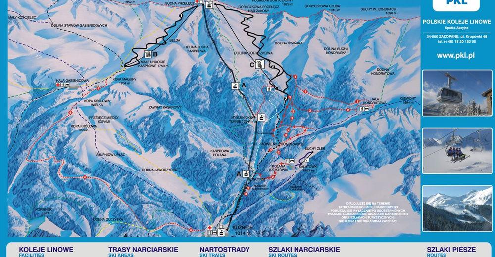 Plan skijaških staza Skijaško područje Kasprowy Wierch / Zakopane