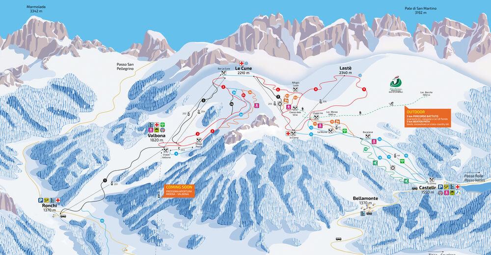 Pistenplan Skigebiet Moena - Alpe Lusia - Bellamonte / Trevalli
