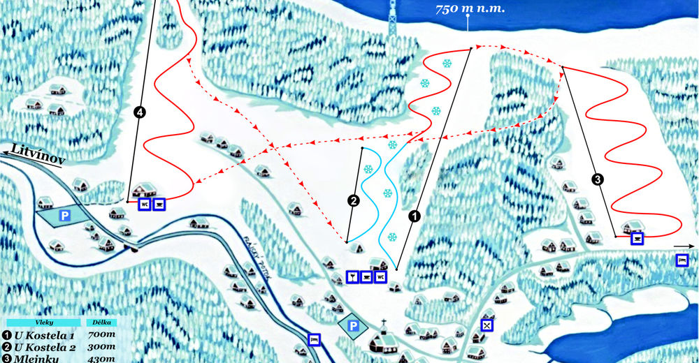 Pisteplan Skiområde Český Jiřetín