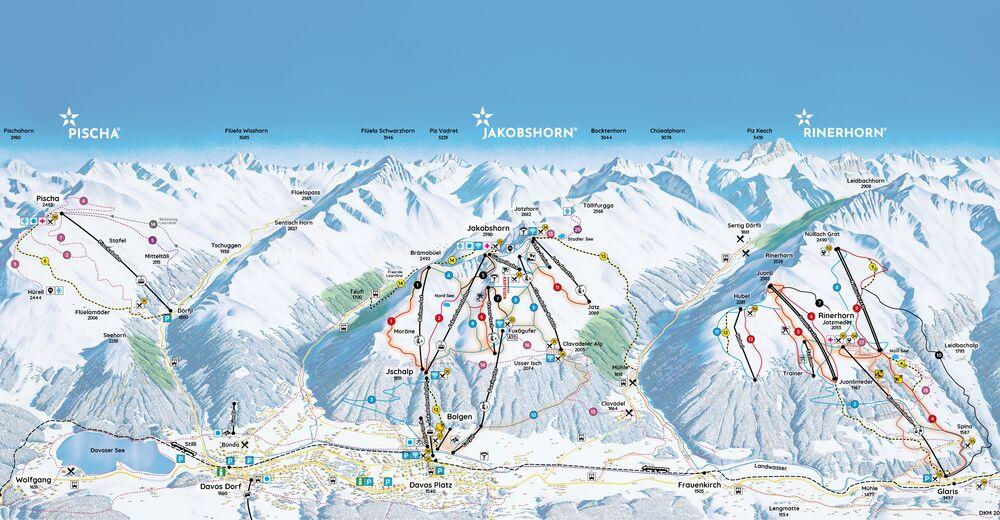 Plán sjezdovky Lyžařská oblast Davos Jakobshorn