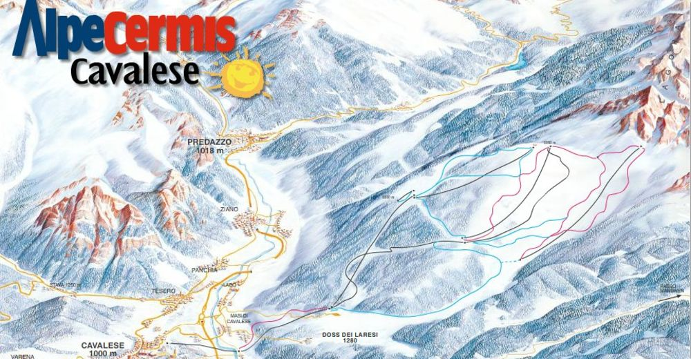 Pályaterv Síterület Alpe Cermis - Cavalese - Val di Fiemme