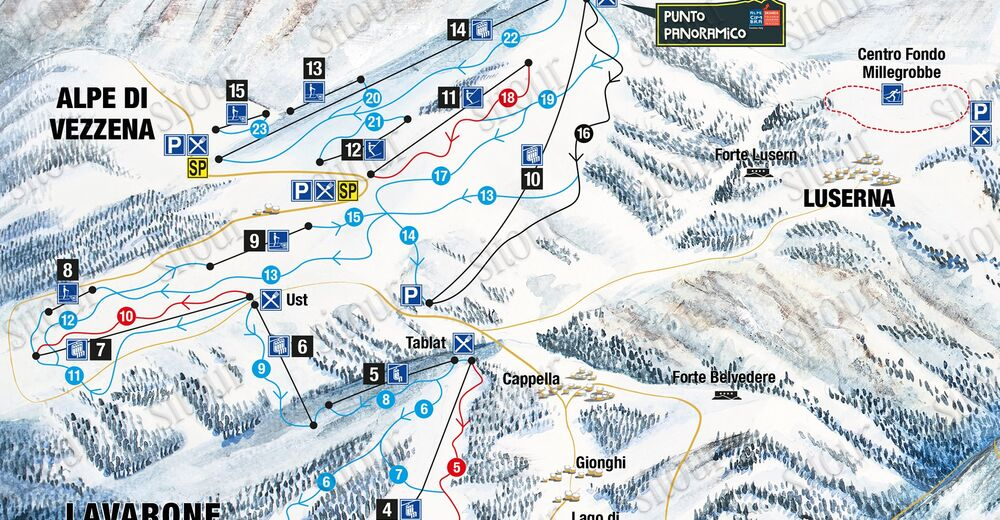 Pistenplan Skigebiet Lavarone - Luserna / Alpe Cimbra