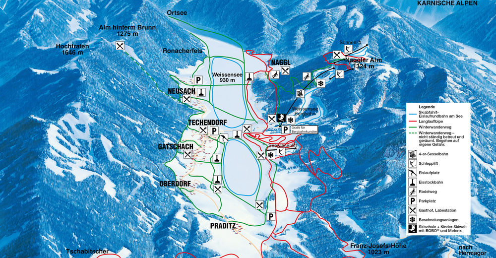 Piste map Ski resort Weissensee
