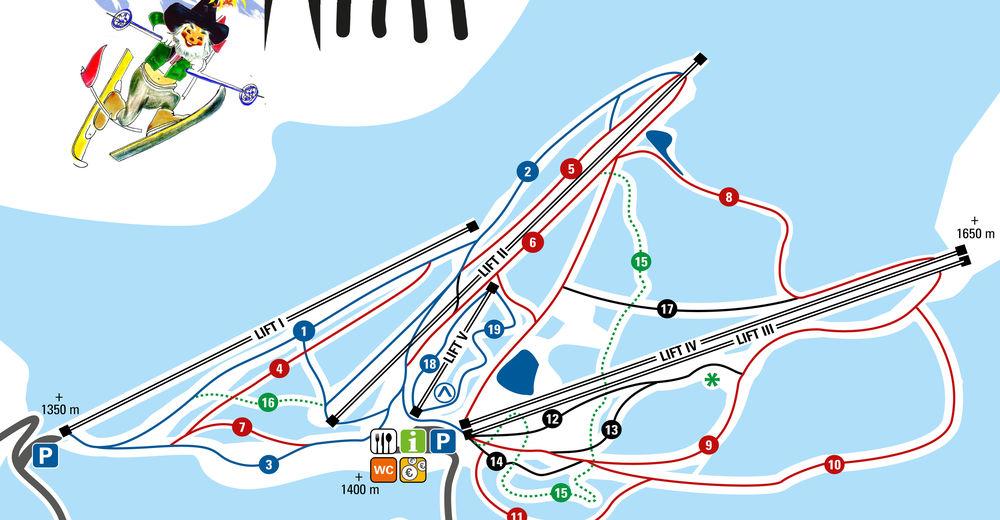 Mapa zjazdoviek Lyžiarske stredisko Familienschigebiet Rieseralm - Obdach