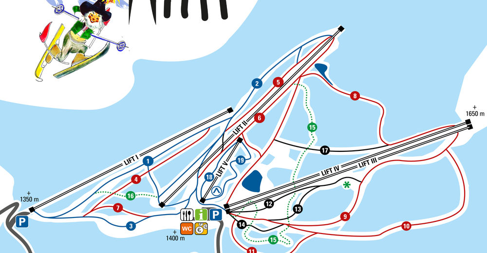 Plan skijaških staza Skijaško područje Familienschigebiet Rieseralm - Obdach