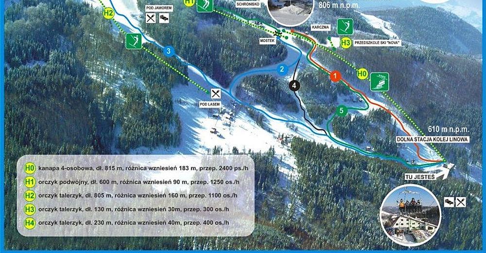 Plan skijaških staza Skijaško područje Soszów