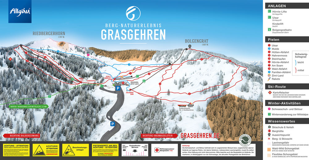 Piste map Ski resort Grasgehren Lifte / Obermaiselstein
