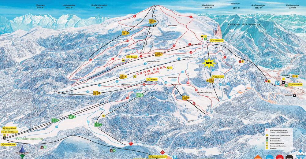 Bakkeoversikt Skiområde Winklmoos Steinplatte / Reit im Winkl