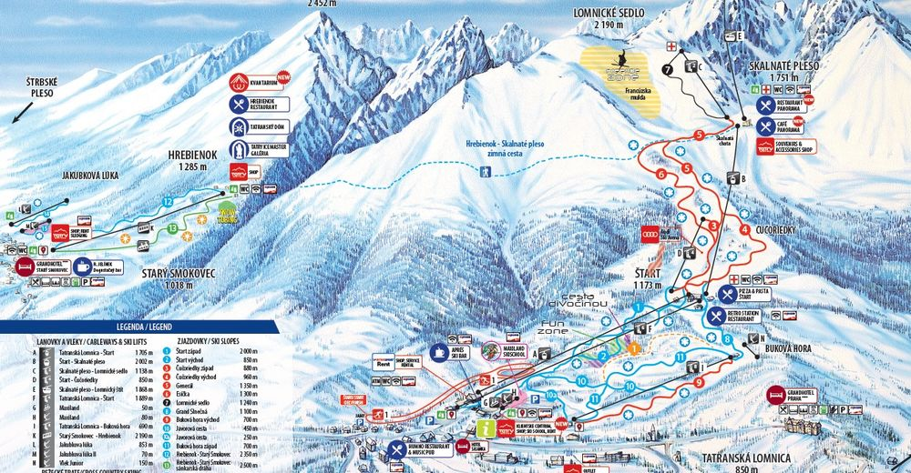 План лыжни Лыжный район Starý Smokovec
