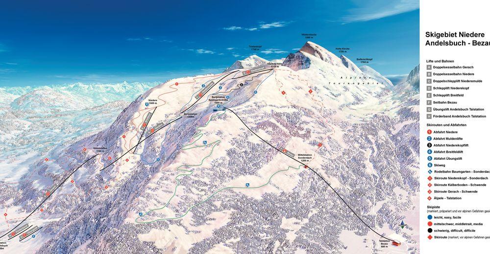 Mapa zjazdoviek Lyžiarske stredisko Andelsbuch Bergbahnen