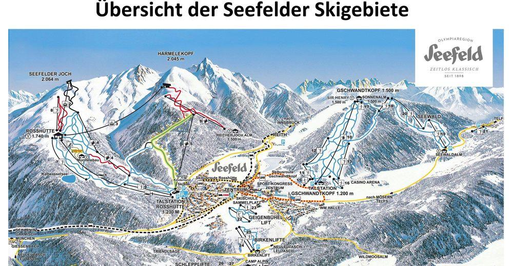 Piste map Ski resort Seefeld / Birkenlift & Geigenbühellift