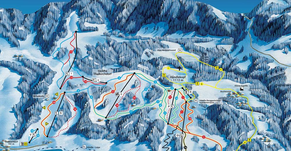 Pistenplan Skigebiet Hündle - Thalkirchdorf