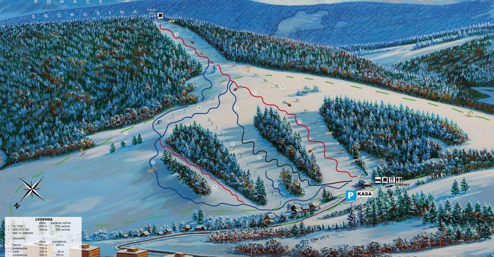 Plan skijaških staza Skijaško područje Ski Centrum Nižná Uhliská