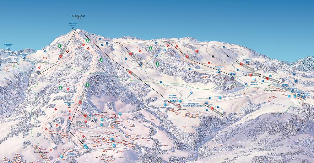 Mappa delle piste Comparto sciistico Bödele - Schwarzenberg