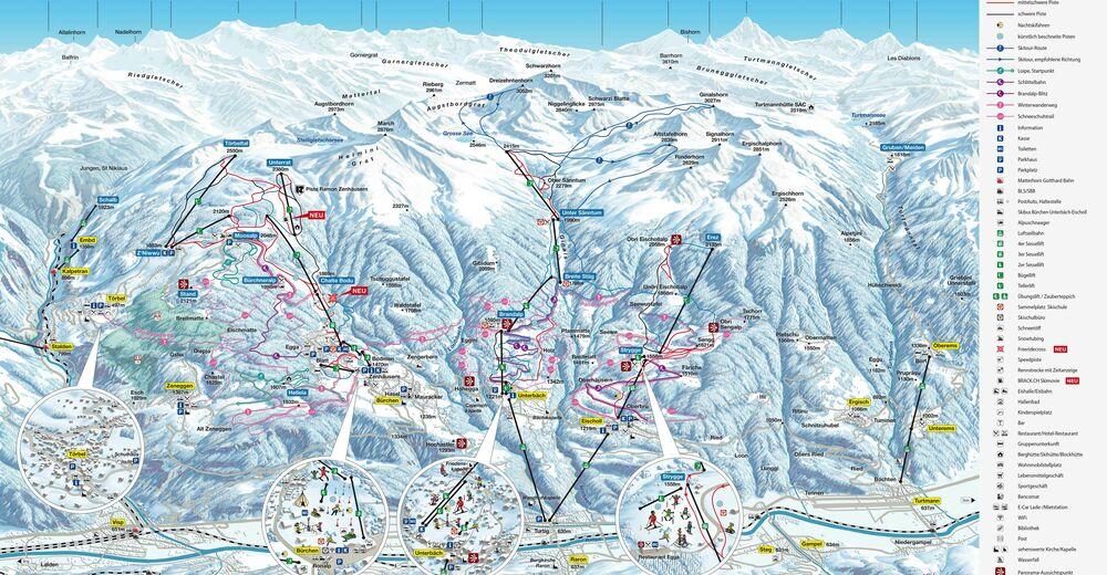 Pisteplan Skigebied Unterbäch - Brandalp