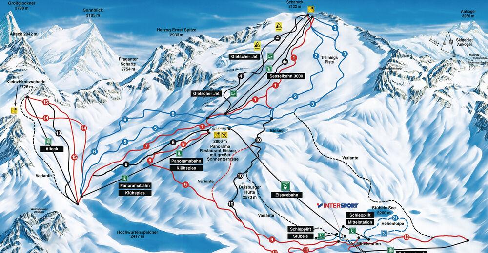 Bakkeoversikt Skiområde Mölltaler Gletscher