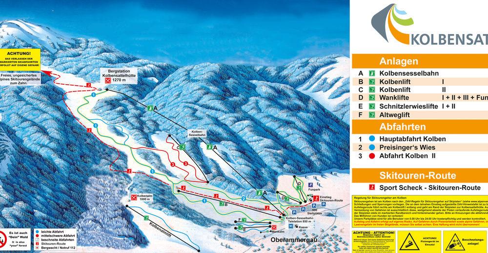 Mappa delle piste Comparto sciistico AktivArena am Kolben / Oberammergau