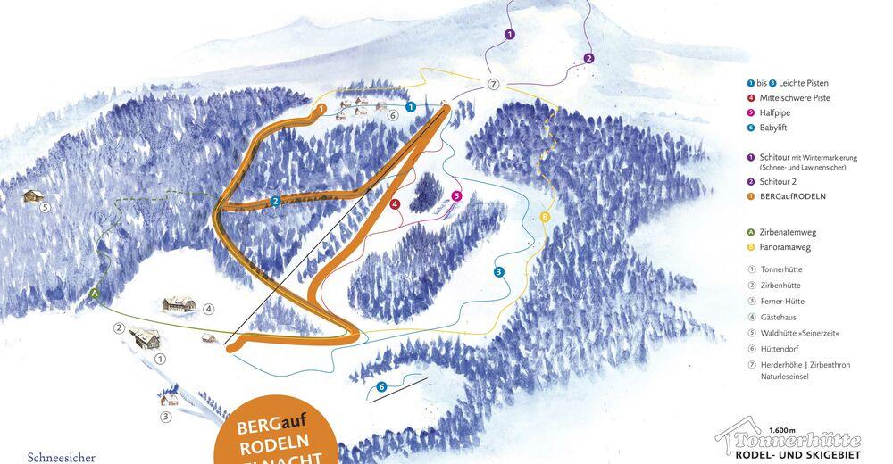 Plan skijaških staza Skijaško područje Tonnerhüttenlift - Zirbitzkogel