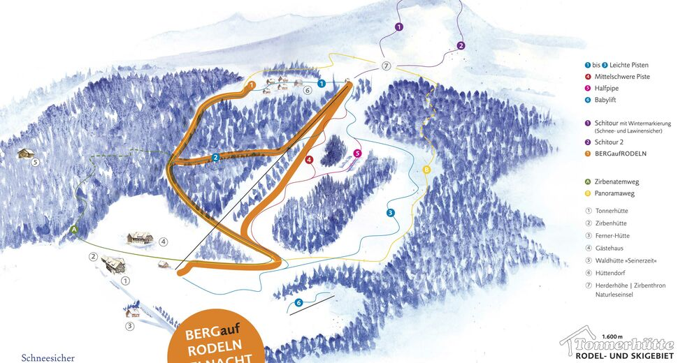 План лыжни Лыжный район Tonnerhüttenlift - Zirbitzkogel