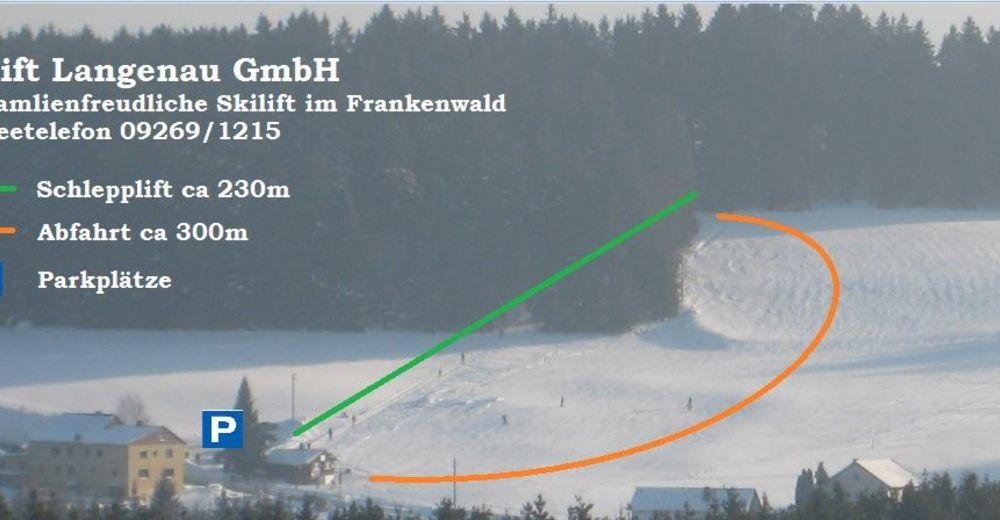 Pistenplan Skigebiet Langenau - Tettau