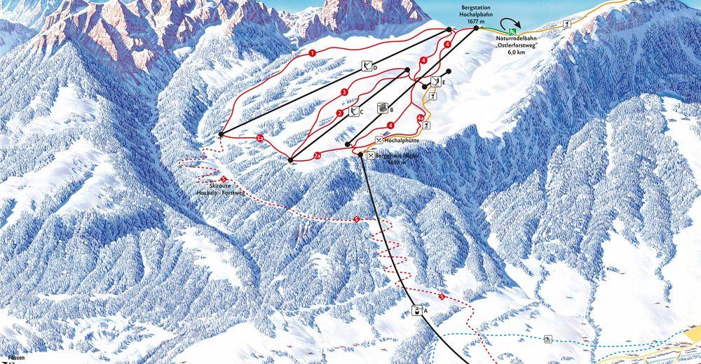Mapa zjazdoviek Lyžiarske stredisko Breitenberg - Hochalpe / Pfronten