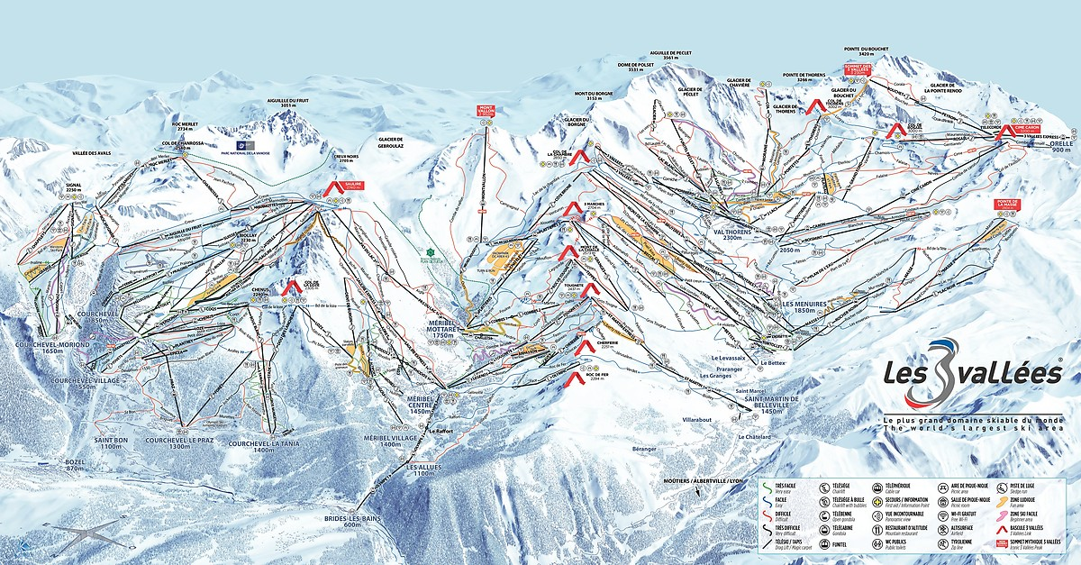 BERGFEX: Plan de piste Val Thorens / Les 3 Vallées - Carte panoramique Val Thorens / Les 3 ...