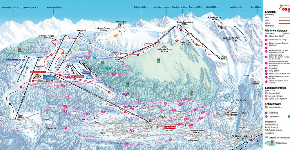 Plan skijaških staza Skijaško područje Grächen