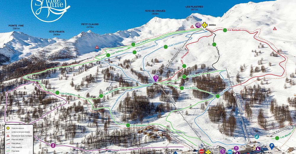 Plan skijaških staza Skijaško područje Sainte Anne la Condamine