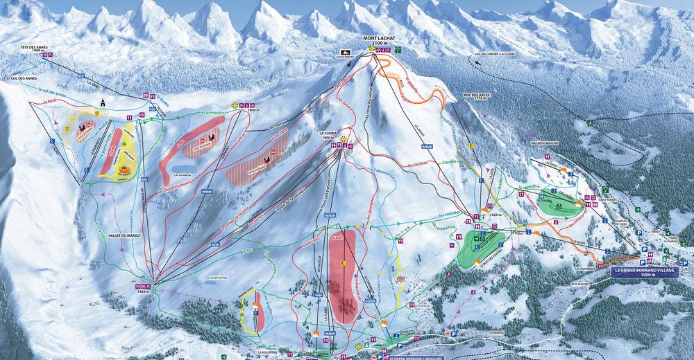 Načrt smučarske proge Smučišče Le Grand Bornand - St. Jean de Sixt - Massif des Arravis