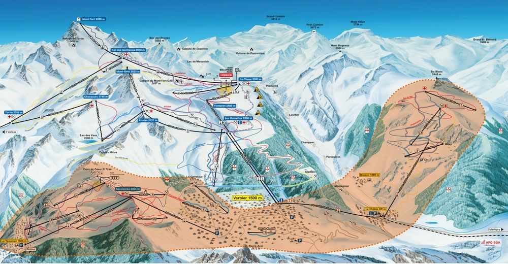Plan skijaških staza Skijaško područje La Tzoumaz - Mayens de Riddes