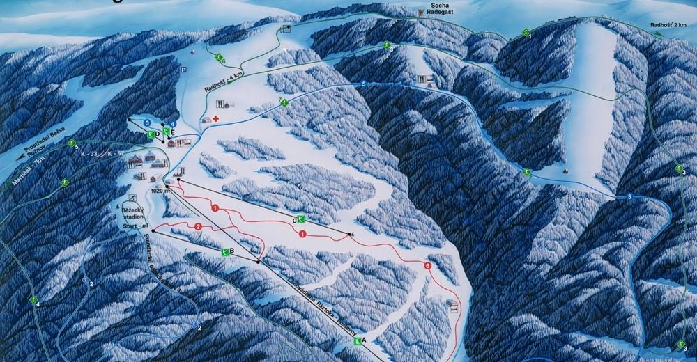 Piste map Ski resort Pustevny