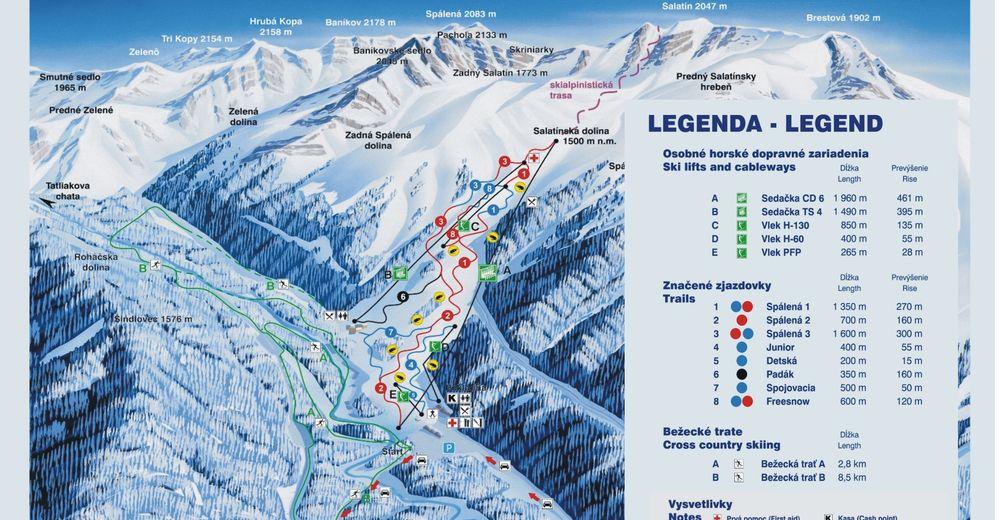Plan skijaških staza Skijaško područje Roháče - Spálená dolina