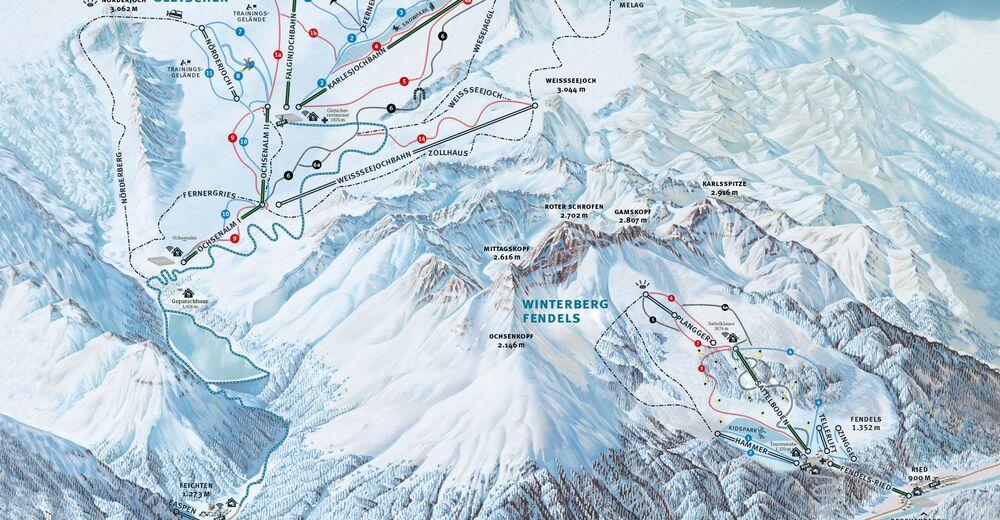 Mappa delle piste Comparto sciistico Fendels - Ried - Prutz