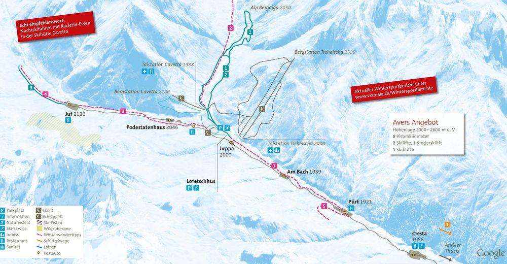 Mappa delle piste Comparto sciistico Avers