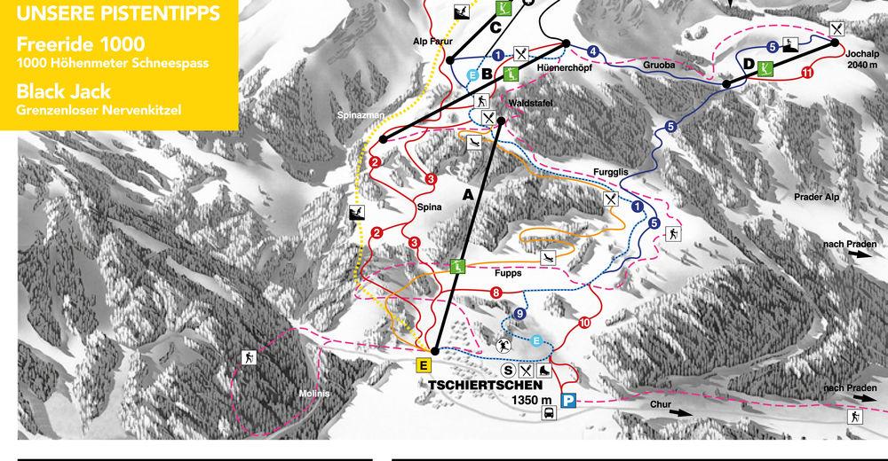 Planul pistelor Zonă de schi Tschiertschen