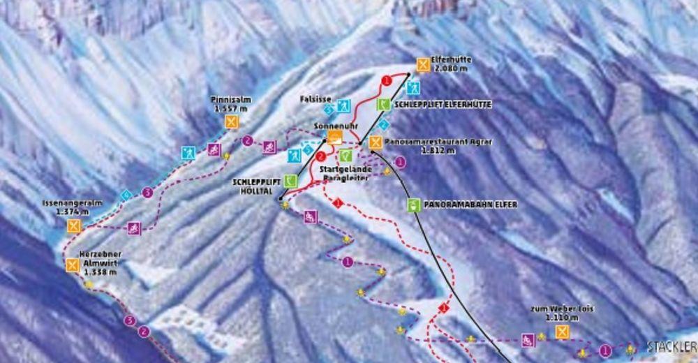 План лыжни Лыжный район Elferbahnen Neustift / Stubaital
