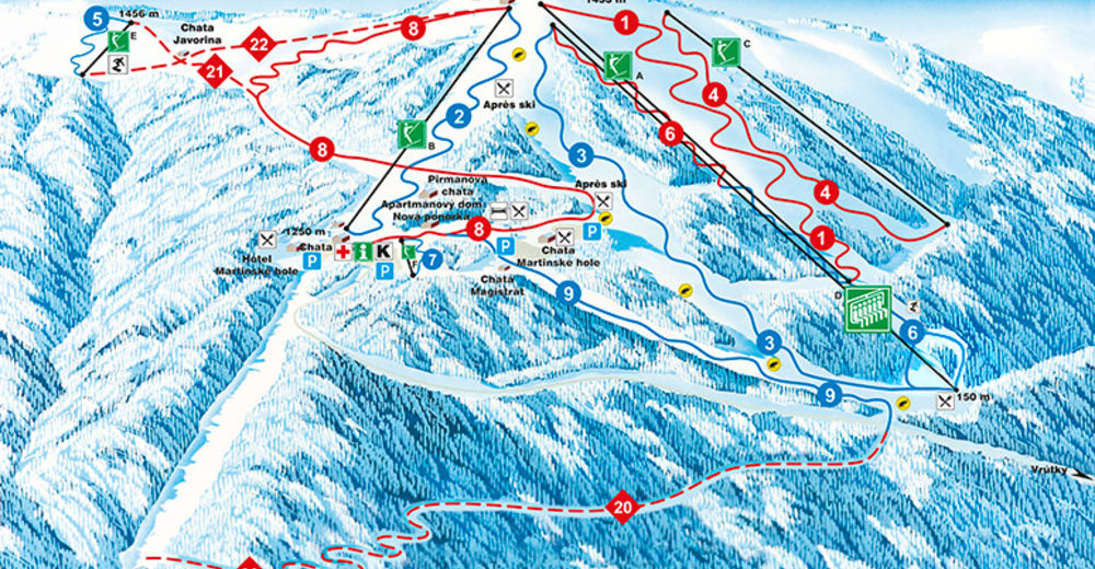 Piste map Ski resort Winter Park Martinky