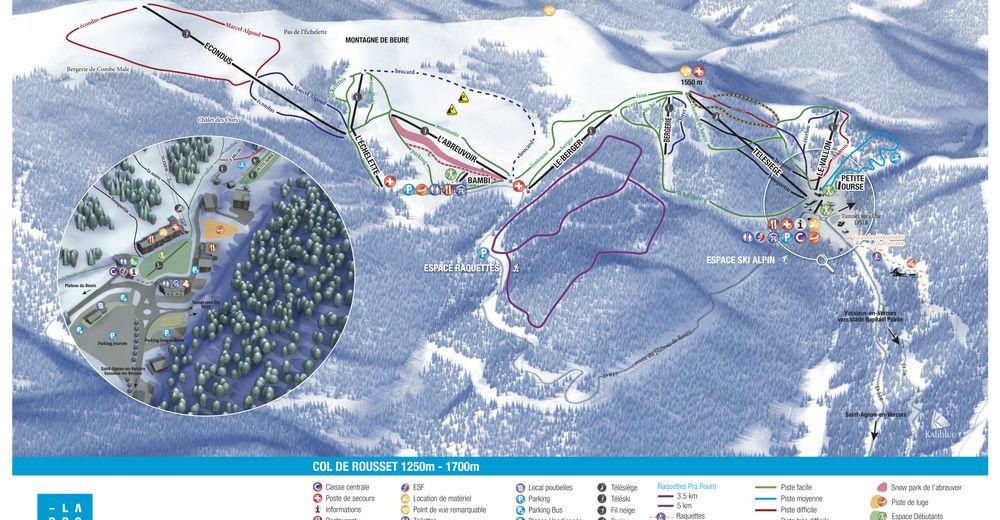 Plan skijaških staza Skijaško područje Col de Rousset
