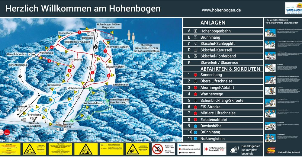 Piste map Ski resort Hohenbogen
