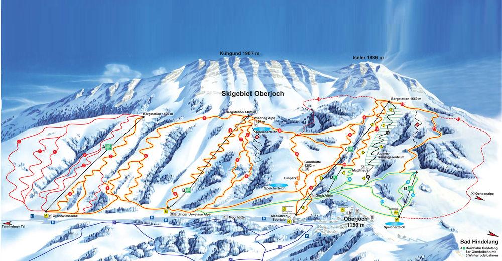 Plano de pista Estación de esquí Oberjoch Bad Hindelang