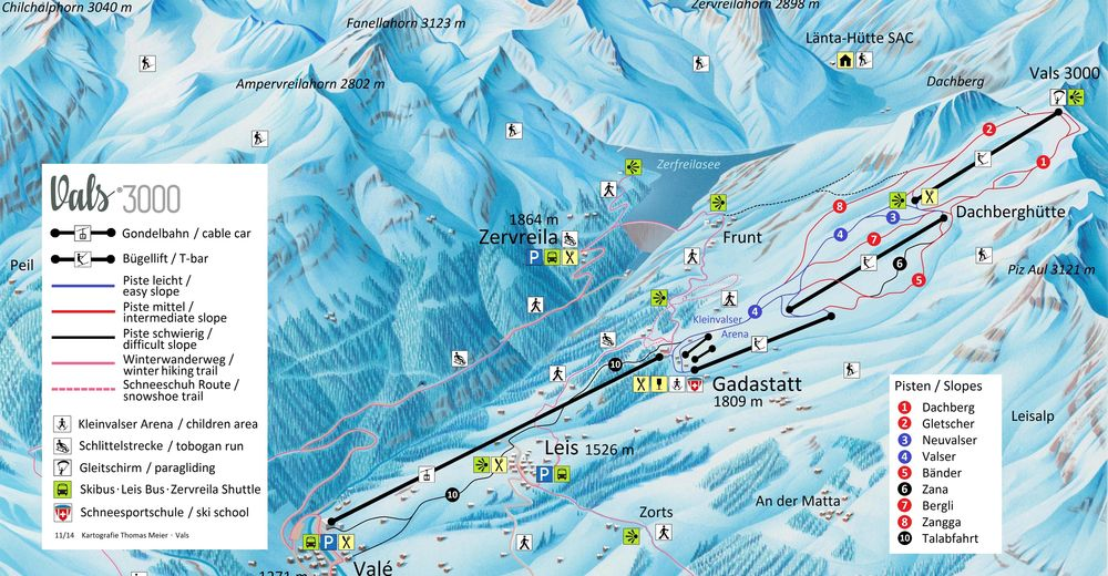 Mapa zjazdoviek Lyžiarske stredisko Vals