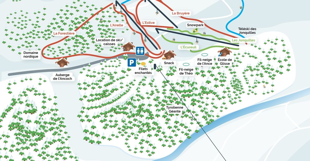 Pistenplan Skigebiet Prabouré - Saint-Anthéme