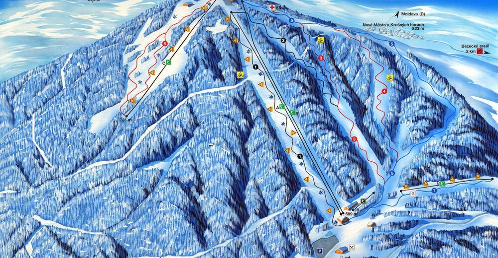 Pisteplan Skiområde Bouřňák