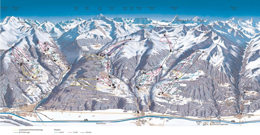 Piste map Ski resort Visperterminen