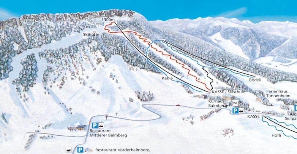 Pisteplan Skiområde Balmberg