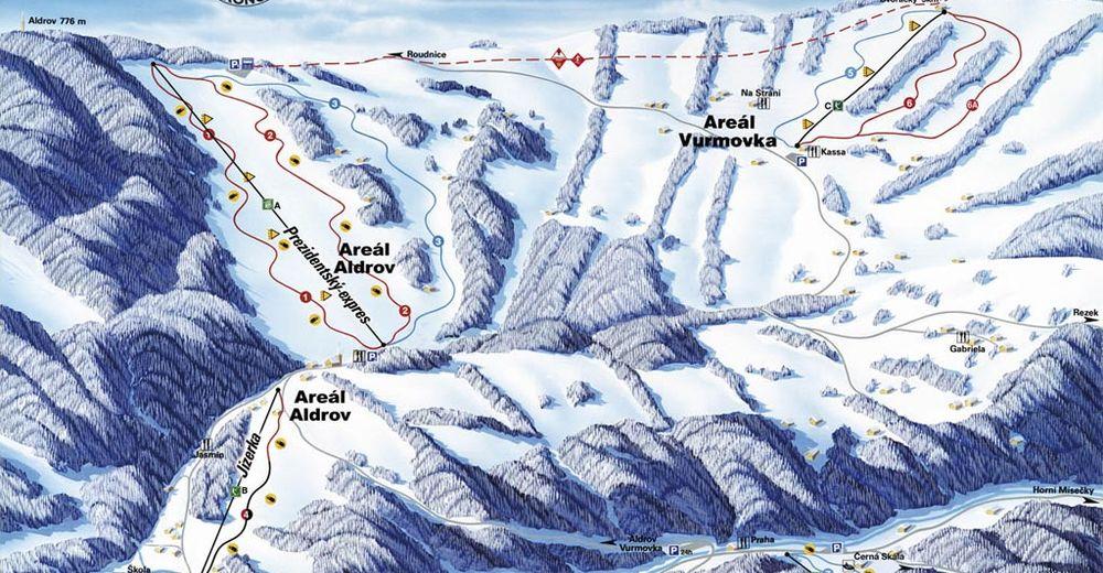 Plan skijaških staza Skijaško područje Aldrov - Vitkovice
