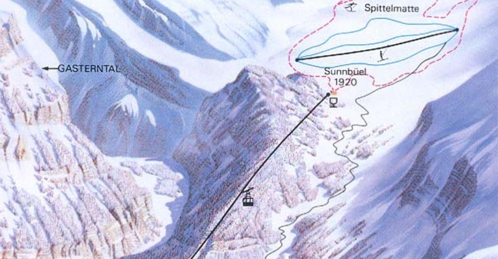Pistenplan Skigebiet Sunnbüel - Kandersteg